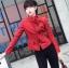 เสื้อแจ็คเก็ตหนังผู้หญิง แฟชั่นเกาหลี สีแดง แจ็คเก็ตหนัง PU คอจีน เท่ๆ สุดคลาสสิค thumbnail 1