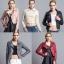 เสื้อแจ็คเก็ตหนังผู้หญิง แฟชั่นเกาหลี สีเทา แจ็คเก็ตหนัง PU ตัวสั้น คอปก ชิคๆ คูลๆ thumbnail 4