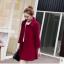 เสื้อโค้ทกันหนาวผู้หญิง สีไวน์แดง คอบัว ยาวคลุมสะโพก ทรงเก๋ ใส่กันหนาว สวยๆ thumbnail 3