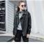 เสื้อแจ็คเก็ตหนังผู้หญิง แฟชั่นเกาหลี สีดำ แจ็คเก็ตหนัง PU คอปก แนว Oversize เท่ๆ thumbnail 4