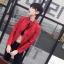 เสื้อแจ็คเก็ตหนังผู้หญิง แฟชั่นเกาหลี สีแดง แจ็คเก็ตหนัง PU คอจีน เท่ๆ สุดคลาสสิค thumbnail 2