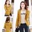 เสื้อกันหนาวผู้หญิงแฟชั่นเกาหลี สีเหลือง แจ็คเก็ตมีฮู้ด ตกแต่งลายจุด สวยๆ thumbnail 4