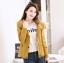 เสื้อกันหนาวผู้หญิงแฟชั่นเกาหลี สีเหลือง แจ็คเก็ตมีฮู้ด ตกแต่งลายจุด สวยๆ thumbnail 1