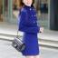 เสื้อโค้ทกันหนาวผู้หญิง สีน้ำเงิน คอจีน ยาวคลุมสะโพก ใส่เที่ยวต่างประเทศ สวยๆ thumbnail 2