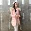 เสื้อกันหนาวผู้หญิงแฟชั่นเกาหลี สีชมพูพีช แจ็คเก็ตมีเฟอร์รอบฮู้ด ยาวคลุมสะโพก หนาวนี้ เอาอยู่ thumbnail 1