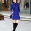 เสื้อโค้ทกันหนาวผู้หญิง สีน้ำเงิน คอจีน ยาวคลุมสะโพก ใส่เที่ยวต่างประเทศ สวยๆ thumbnail 3