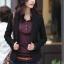 เสื้อสูทผู้หญิง เสื้อสูทแฟชั่น สีดำ แขนยาว คอปก ใส่ลำลอง หรือใส่ทำงานได้ thumbnail 2