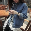 เสื้อยีนส์ผู้หญิง แจ็คเก็ตยีนส์ เสื้อคลุมยีนส์ แขนยาว คอจีน แฟชั่น Street เท่ๆ