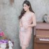 ชุดออกงานสีชมพูโอรส ผ้าไหมแก้วปักลูกไม้ ทรงเข้ารูป แขนสามส่วน ลุคสวยหรู สง่า ดูดี สำหรับใส่ออกงาน ไปงานแต่งงาน