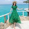 ชุดเดรสยาวสีเขียวใส่เที่ยวทะเลพิมพ์ลายใบไม้สวยๆ สไตล์โบฮีเมียน แฟชั่นริมทะเล ร้อนนี้หนีไปทะเลกัน สวยใสรับซัมเมอร์ เก๋ๆ ( สินค้าพร้อมส่ง )