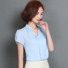 เสื้อทำงานสีฟ้า คอวี แขนสั้น ลุคเรียบๆ เสื้อทำงานสวยๆ สำหรับสาวออฟฟิศ