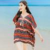 เสื้อใส่เที่ยวทะเลสวยๆสไตล์โบฮีเมียนสีแดง แขนปีกค้างคาว