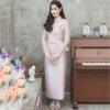 ชุดออกงานผู้ใหญ่สีชมพู เซ็ทเสื้อลูกไม้คอจีนแขนยาว + กระโปรงยาว เป็นชุดไปงาน ชุดผู้ใหญ่ ชุดแม่เจ้าสาว สไตล์เรียบๆ สวยหรู ดูสง่า