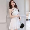 ชุดเดรสสั้นสีขาว คอไขว้ กระโปรงทรงบาน สวยๆ น่ารัก แฟชั่นสไตล์เกาหลี