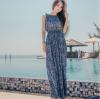 ชุดเดรสยาวเที่ยวทะเลสีน้ำเงิน พิมพ์ลายสวยๆ เอวยืด แขนกุด สวยเก๋ สไตล์โบฮีเมียน