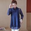 เสื้อทำงานสีน้ำเงินกรมท่า คอเชิ้ต แขนยาว