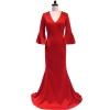 ชุดราตรียาวสีแดง แขนสามส่วน เข้ารูป ลุคเรียบหรู สวยดูดี ใส่ออกงาน ไปงานแต่งงาน
