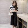 ชุดเซ็ทเสื้อ-กางเกงขายาวสีดำ ลายริ้วขวาง