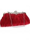 กระเป๋าคลัทช์ออกงานสีแดง ทรงสีเหลี่ยมผืนผ้า จับจีบ ถือออกงาน ไปงานแต่งงาน ลุคเรียบๆ สวยเก๋