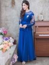 ชุดเดรสยาวออกงานสีน้ำเงิน แขนยาวแต่งลูกไม้ แนวเรียบหรู สวยสง่า สไตล์ผู้ใหญ่ เหมาะสำหรับใส่ออกงาน ไปงานแต่งงาน ชุดถือขันหมาก ชุดแม่บ่าวสาว