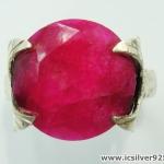 ทับทิม Indian Ruby- แหวนเงินแท้ 925 (แหวนเบอร์ : 56 ,5.3g)