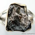 Campo Del Cielo Meteorite แหวนเงินแท้ 925 (แหวนเบอร์ : 59 ,6.7g)
