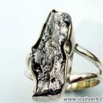 Campo Del Cielo Meteorite แหวนเงินแท้ 925 (แหวนเบอร์ : 55 ,5g)