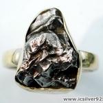 Campo Del Cielo Meteorite แหวนเงินแท้ 925 (แหวนเบอร์ : 57 ,6.5g)