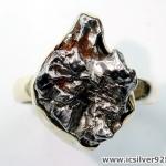 Campo Del Cielo Meteorite แหวนเงินแท้ 925 (แหวนเบอร์ : 59 ,6.5g)