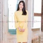 ชุดเดรสสั้นสีเหลือง เข้ารูป แขนยาว แนวเรียบร้อย สวยดูดี ใส่ทำงานได้ ( สินค้าพร้อมส่ง : M L )