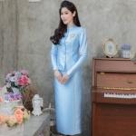 ชุดไทยจิตรลดาสีฟ้า เซ็ท 2 ชิ้น เสื้อผ้าไหมกระดุมหน้า + กระโปรงยาว แนวเรียบหรู สวยสง่า ดูดีสุด : พร้อมส่ง M L XL 2XL