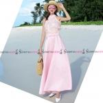 ชุดเดรสยาวสีชมพู แขนกุด แต่งขนฟรุ้งฟริ้งน่ารัก กระโปรงยาวทรงบาน แนวสวยหวาน น่ารักๆ : สินค้าพร้อมส่ง S M