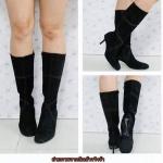 ❤b-2237 รองเท้าบูทผ้าสีดำไซส์38
