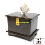 กล่องออมสินโบราณ สีโอ๊ค