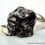 Campo Del Cielo Meteorite แหวนเงินแท้ 925 (แหวนเบอร์ : 61 ,4.9g)