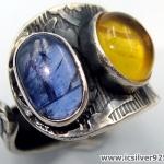 ไคยาไนต์-อำพัน Kyanite-Amber แหวนเงินแท้ 925 (แหวนเบอร์ : 58 , 4.4g )