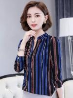 เสื้อเชิ้ตผู้หญิงทำงานสีน้ำเงินกรมท่า ลายทาง แขนยาว