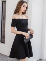 ชุดเดรสสั้นสีดำ เปิดไหล่ สวยเก๋ น่ารัก สไตล์เกาหลี