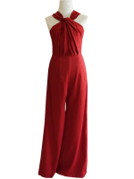ชุดออกงานสีแดง จีบคอ แขนกุด กางเกงขายาวทรงกระบอก : สินค้าพร้อมส่ง