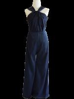 ชุดออกงานสีน้ำเงินกรมท่า จีบคอ แขนกุด กางเกงขายาวทรงกระบอก : สินค้าพร้อมส่ง
