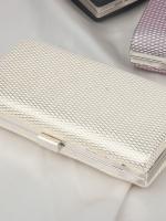 กระเป๋าถือออกงานสีขาว ทรงสี่เหลี่ยม หนัง PU ลายตาราง