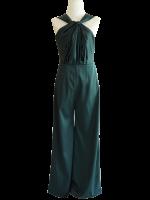 ชุดออกงานสีเขียว จีบคอ แขนกุด กางเกงขายาวทรงกระบอก : สินค้าพร้อมส่ง