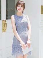 ชุดเดรสลูกไม้สีฟ้าพาสเทล แขนกุด ทรงเอ สวยหวาน น่ารัก สไตล์เกาหลี