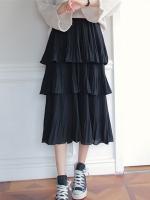 กระโปรงยาวสีดำ สามชั้น สวยพริ้ว แฟชั่นชิคๆ สไตล์เกาหลี