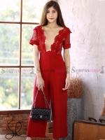 ชุดเดรสกางเกงขายาวสีแดง แต่งลูกไม้ กางเกงขาทรงกระบอก ทรงสวย : สินค้าพร้อมส่ง M L XL