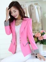 เสื้อสูททำงานผู้หญิงสีชมพู ทรงเข้ารูป คอปก แขนยาว ทรงสวย ( สินค้าพร้อมส่ง )
