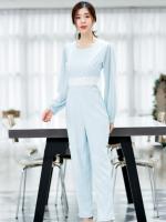 ชุดจั๊มสูทกางเกงขายาวสีฟ้า แขนยาว กางเกงทรงเดฟ: สินค้าพร้อมส่ง