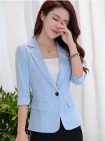เสื้อสูททำงานผู้หญิงสีฟ้า พิมพ์ลายตาราง ทรงเข้ารูป : สินค้าพร้อมส่ง