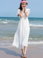ชุดเดรสยาวเที่ยวทะเลสีขาว แขนสั้น กระโปรงบาน สวยพริ้ว น่ารักๆ