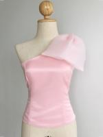 เสื้อออกงานสีชมพูนม ไหล่เฉียง แต่งโบว์